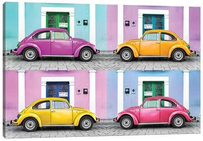 ¡Viva Mexico! Series: Four VW Beetle Cars II Canvas Print #PHD282