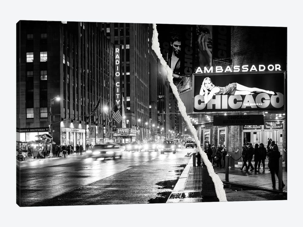 Dual Torn Series - Nightlife in Manhattan by Philippe Hugonnard 1-piece Canvas Artwork