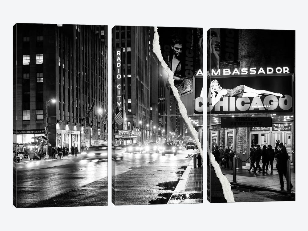 Dual Torn Series - Nightlife in Manhattan by Philippe Hugonnard 3-piece Canvas Artwork