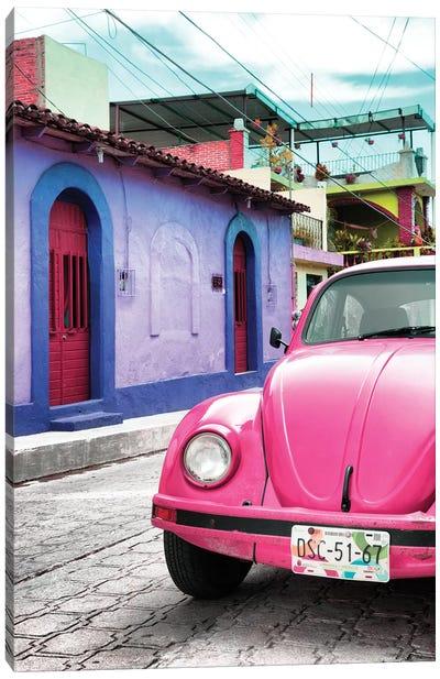 ¡Viva Mexico! Series: Pink VW Beetle Car Canvas Print #PHD291