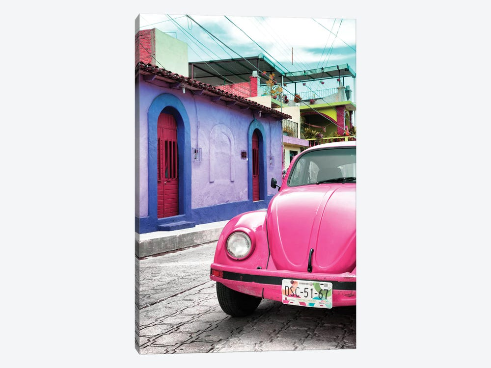 Pink VW Beetle Car by Philippe Hugonnard 1-piece Art Print