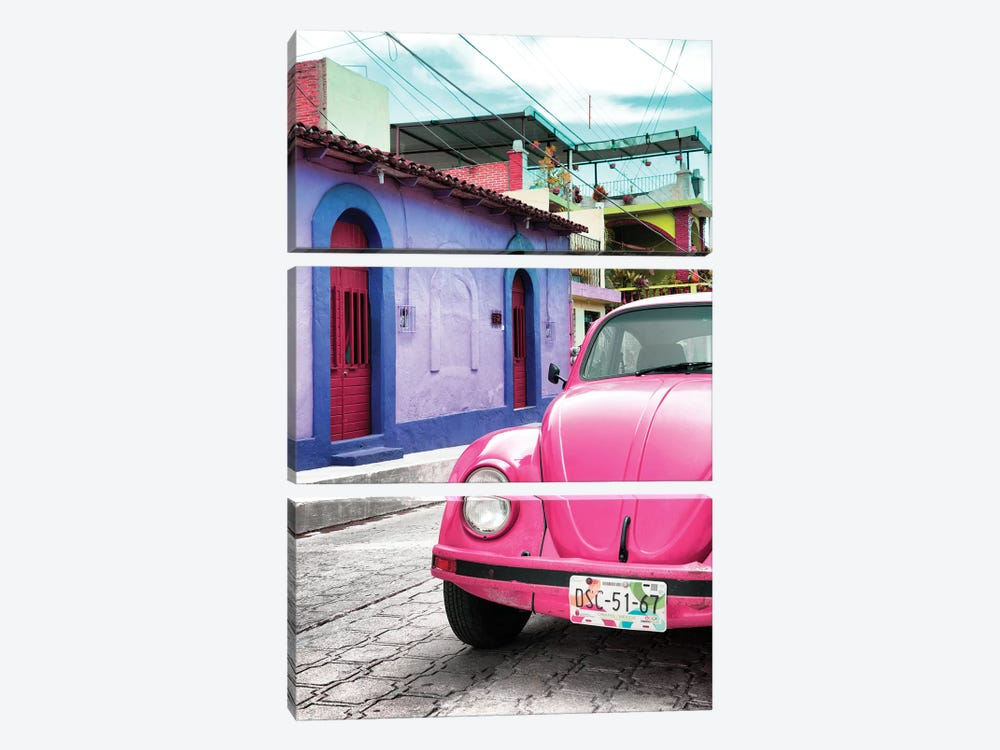 Pink VW Beetle Car by Philippe Hugonnard 3-piece Art Print