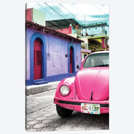 Pink VW Beetle Car Canvas Print #PHD291} by Philippe Hugonnard Art Print