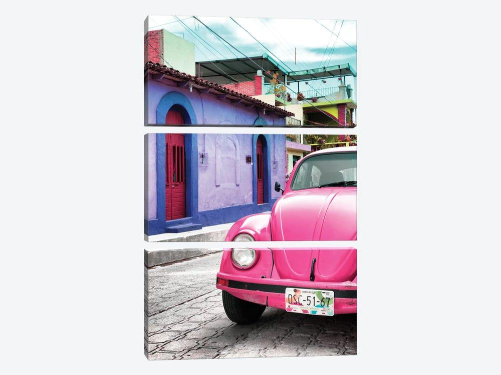 Pink VW Beetle Car by Philippe Hugonnard 3-piece Art Print