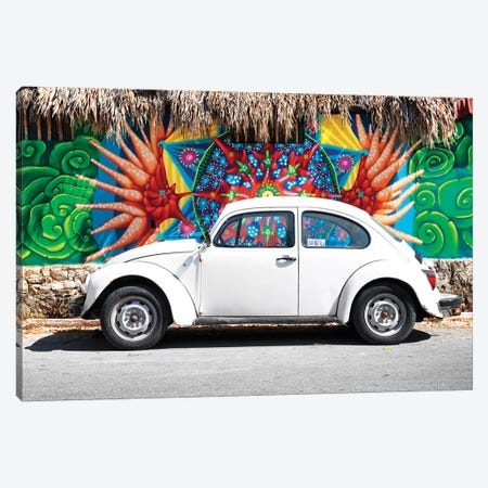 White VW Beetle Car In Cancun Canvas Print #PHD296} by Philippe Hugonnard Canvas Wall Art