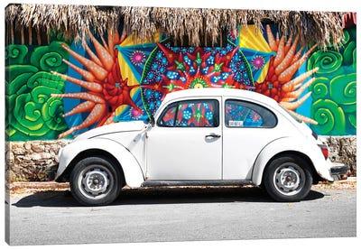 ¡Viva Mexico! Series: White VW Beetle Car In Cancun Canvas Print #PHD296