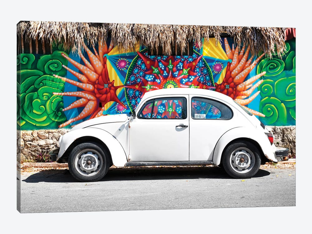 White VW Beetle Car In Cancun 1-piece Canvas Wall Art