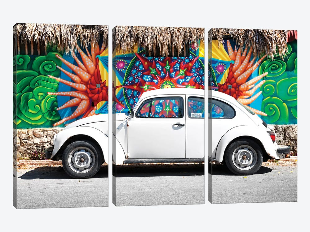 White VW Beetle Car In Cancun by Philippe Hugonnard 3-piece Canvas Art