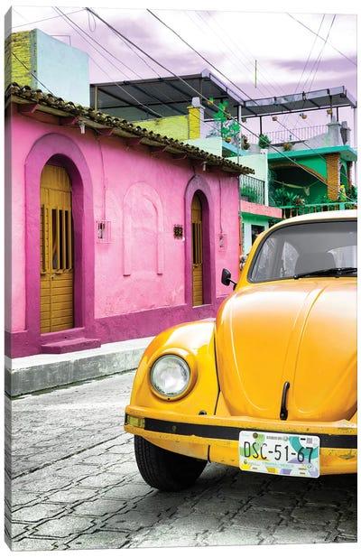 ¡Viva Mexico! Series: Yellow VW Beetle Car Canvas Print #PHD297