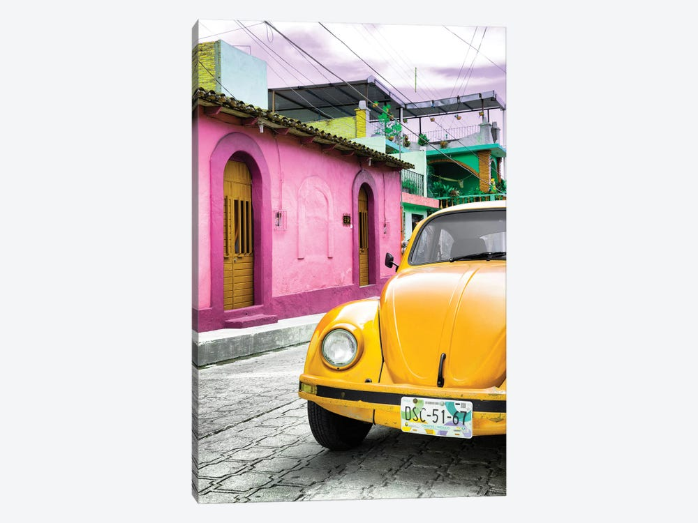 Yellow VW Beetle Car by Philippe Hugonnard 1-piece Art Print