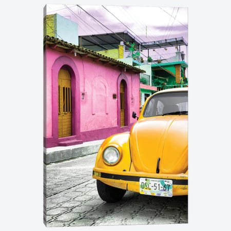 Yellow VW Beetle Car Canvas Print #PHD297} by Philippe Hugonnard Canvas Wall Art