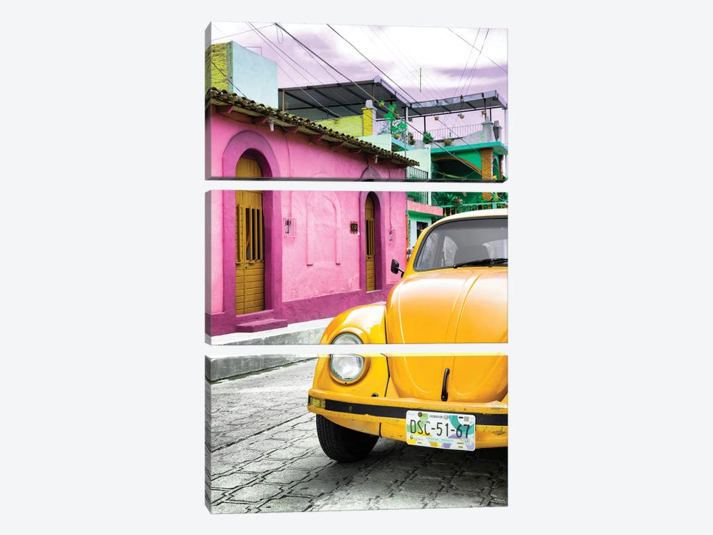 Yellow VW Beetle Car by Philippe Hugonnard 3-piece Canvas Print