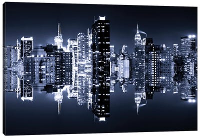 Double Sided - Manhattan Skyline - Blue Night Canvas Art Print
