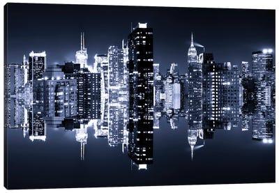 Double Sided - Manhattan Skyline - Blue Night Canvas Print #PHD2