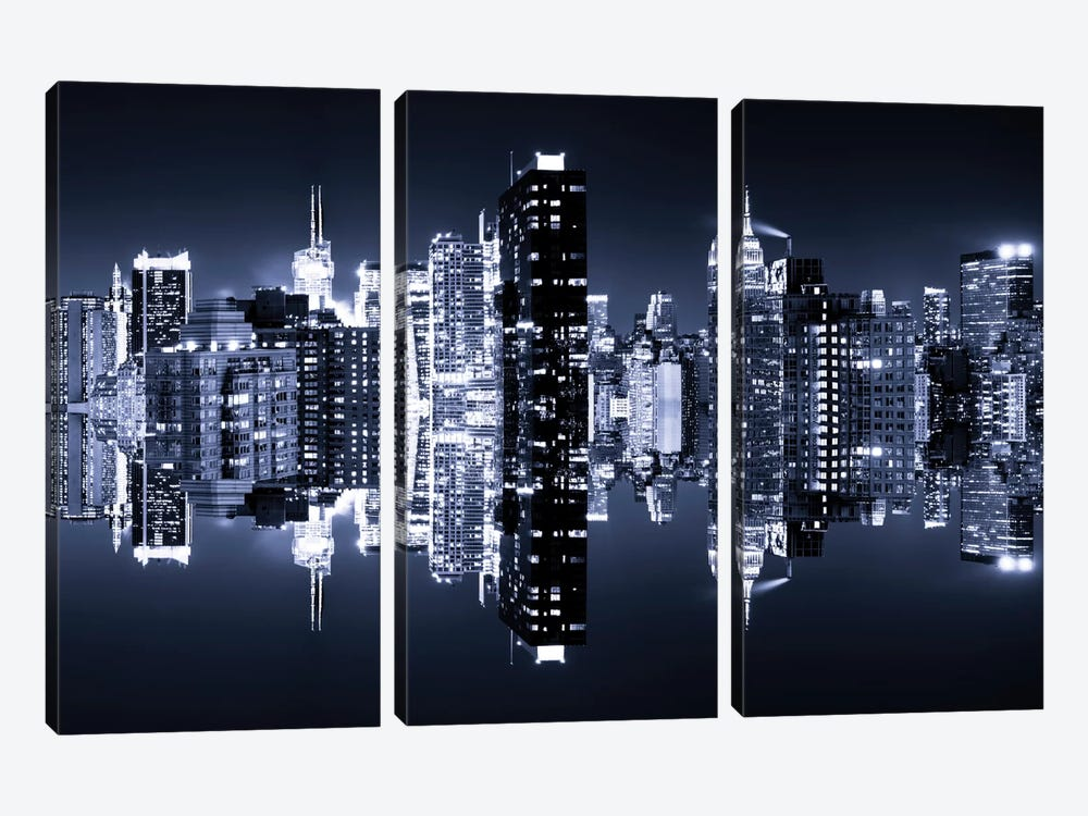 Double Sided - Manhattan Skyline - Blue Night by Philippe Hugonnard 3-piece Canvas Wall Art