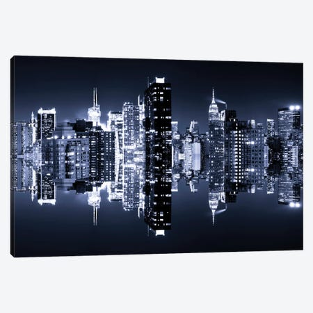 Manhattan Skyline - Blue Night 3-Piece Canvas #PHD2} by Philippe Hugonnard Canvas Art