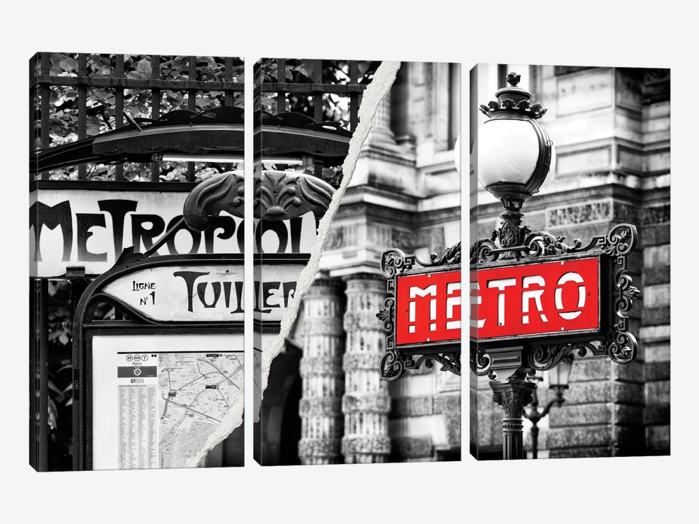 Paris Metro by Philippe Hugonnard 3-piece Canvas Wall Art