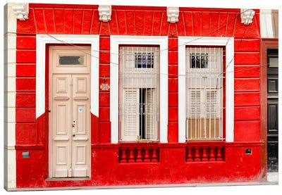 355 Street - Red Facade Canvas Art Print