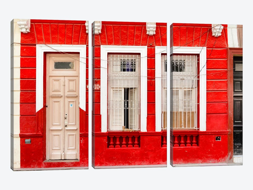 355 Street - Red Facade by Philippe Hugonnard 3-piece Canvas Art