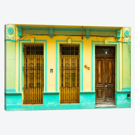 612 Street Havana - Yellow & Green Canvas Print #PHD329} by Philippe Hugonnard Canvas Print