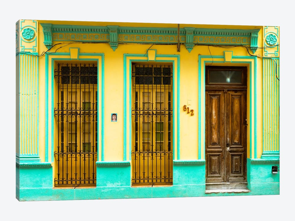 Cuba Fuerte Collection - 612 Street Havana - Yellow and Green by Philippe Hugonnard 1-piece Canvas Art Print