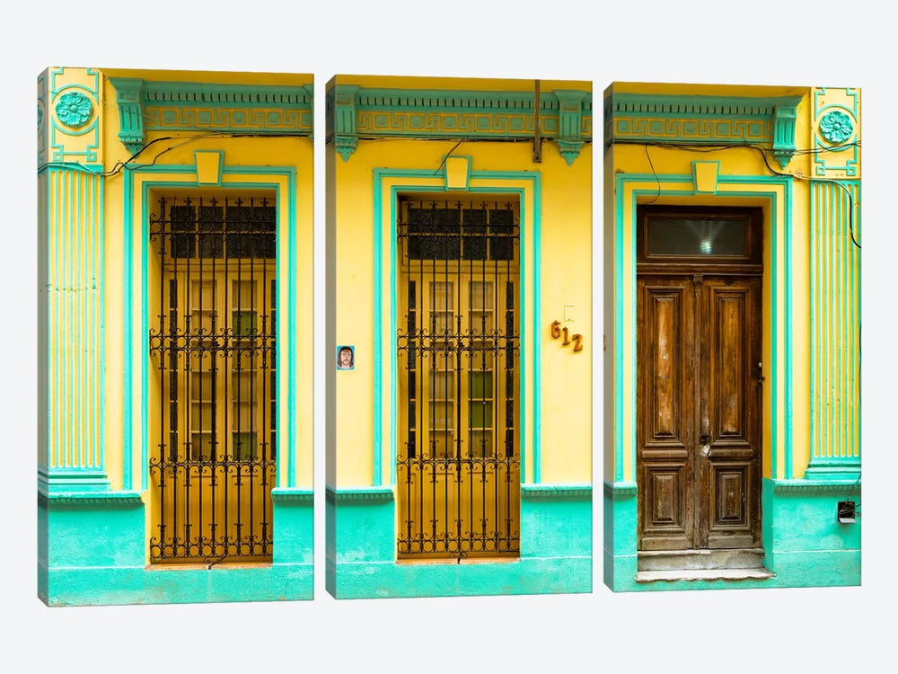 Cuba Fuerte Collection - 612 Street Havana - Yellow and Green by Philippe Hugonnard 3-piece Canvas Print