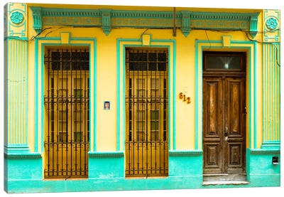 612 Street Havana - Yellow & Green Canvas Art Print