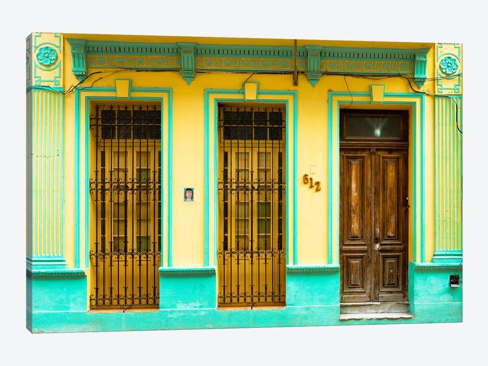 612 Street Havana - Yellow & Green by Philippe Hugonnard 1-piece Canvas Art Print