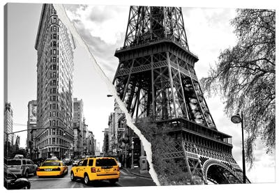 Dual Torn Series - Paris New York Canvas Print #PHD32