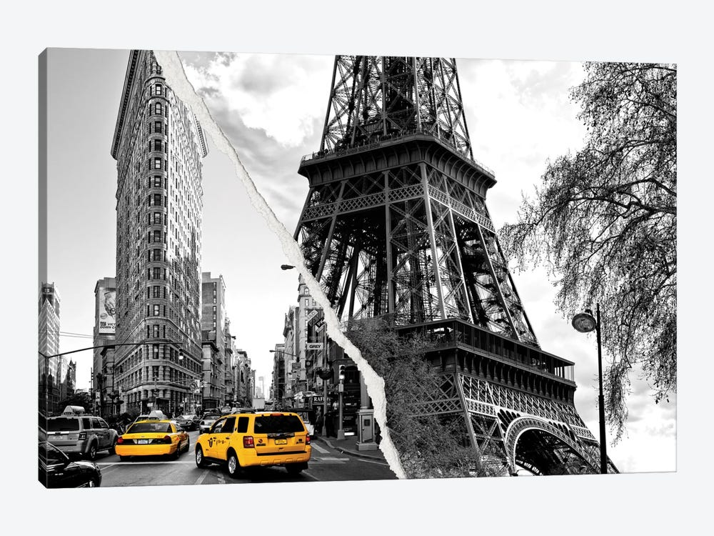 Dual Torn Series - Paris New York by Philippe Hugonnard 1-piece Canvas Art Print
