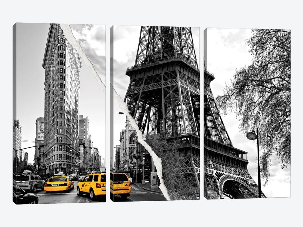 Dual Torn Series - Paris New York by Philippe Hugonnard 3-piece Canvas Art Print