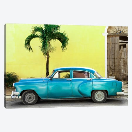 Beautiful Retro Blue Car Canvas Print #PHD330} by Philippe Hugonnard Canvas Wall Art