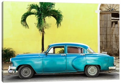 Beautiful Retro Blue Car Canvas Art Print