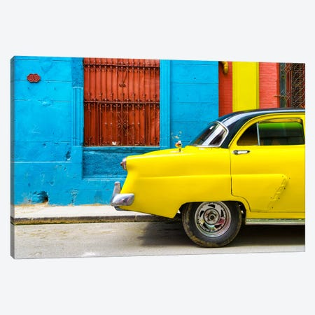 Close-up of Yellow Taxi of Havana II Canvas Print #PHD332} by Philippe Hugonnard Canvas Wall Art