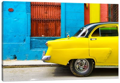 Cuba Fuerte Collection - Close-up of Yellow Taxi of Havana II Canvas Art Print