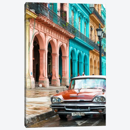 Cuba Fuerte Collection - Colorful Buildings and Red Taxi Car Canvas Print #PHD333} by Philippe Hugonnard Canvas Art
