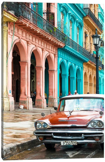 Cuba Fuerte Collection - Colorful Buildings and Red Taxi Car Canvas Art Print