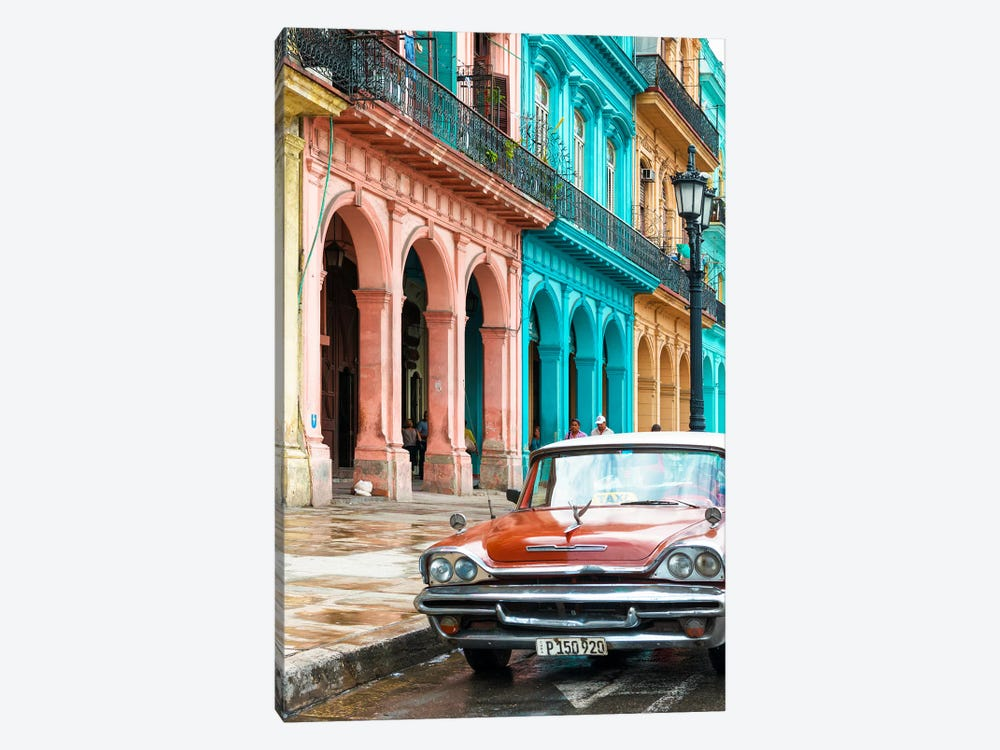 Cuba Fuerte Collection - Colorful Buildings and Red Taxi Car by Philippe Hugonnard 1-piece Canvas Art