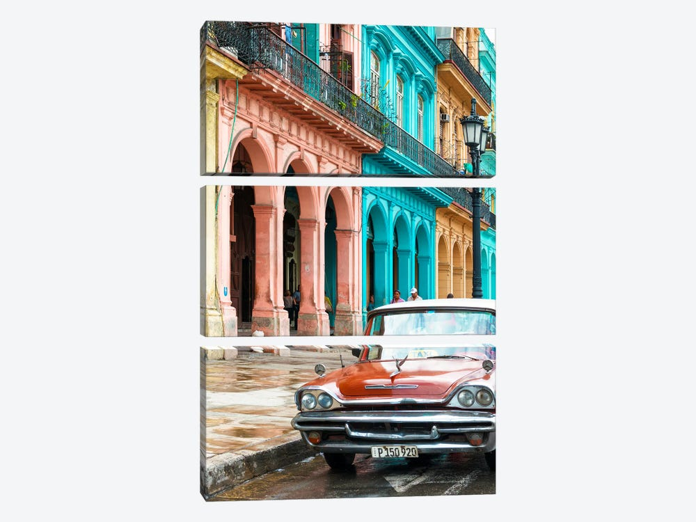 Cuba Fuerte Collection - Colorful Buildings and Red Taxi Car by Philippe Hugonnard 3-piece Canvas Artwork