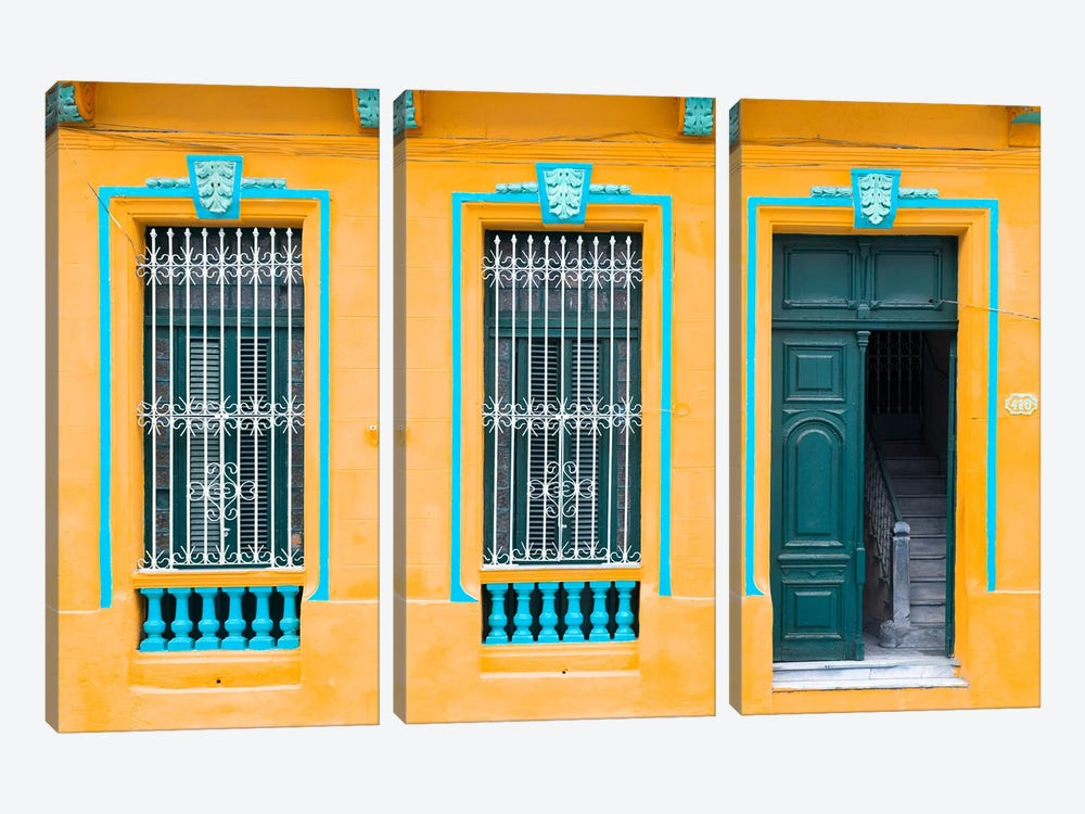 Cuba Fuerte Collection - Havana Orange Façade by Philippe Hugonnard 3-piece Art Print