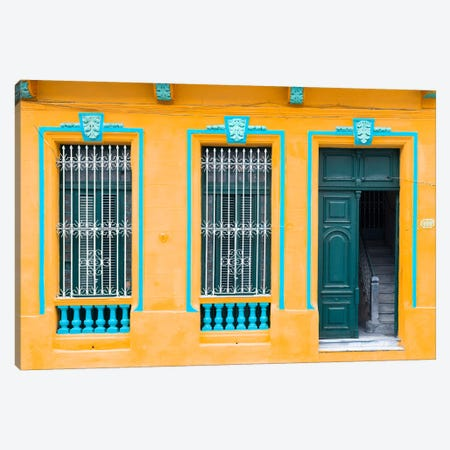 Havana Orange Façade Canvas Print #PHD336} by Philippe Hugonnard Canvas Art Print