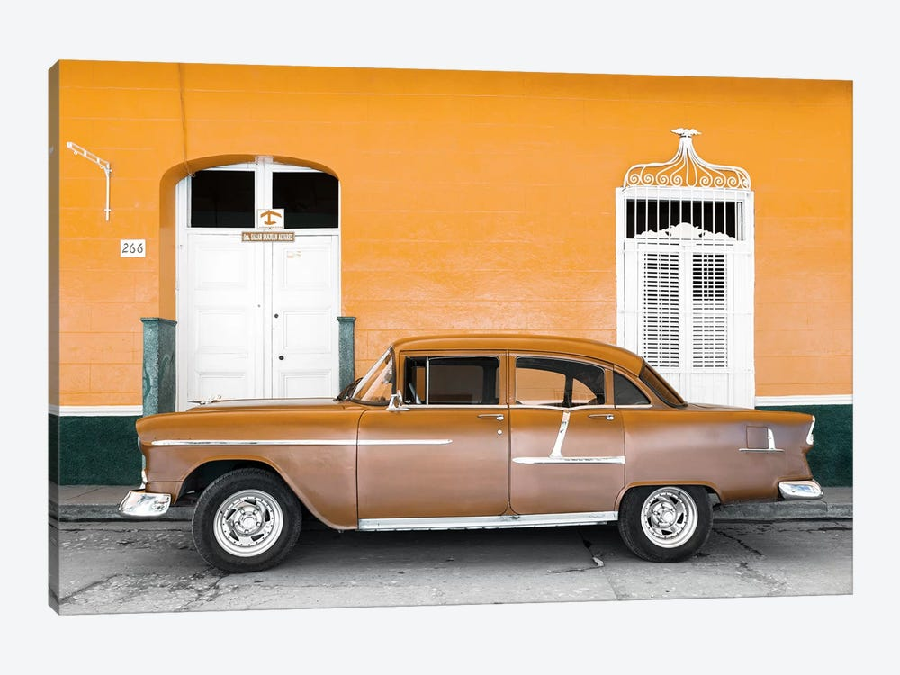 Cuba Fuerte Collection - Old Orange Car   by Philippe Hugonnard 1-piece Canvas Artwork