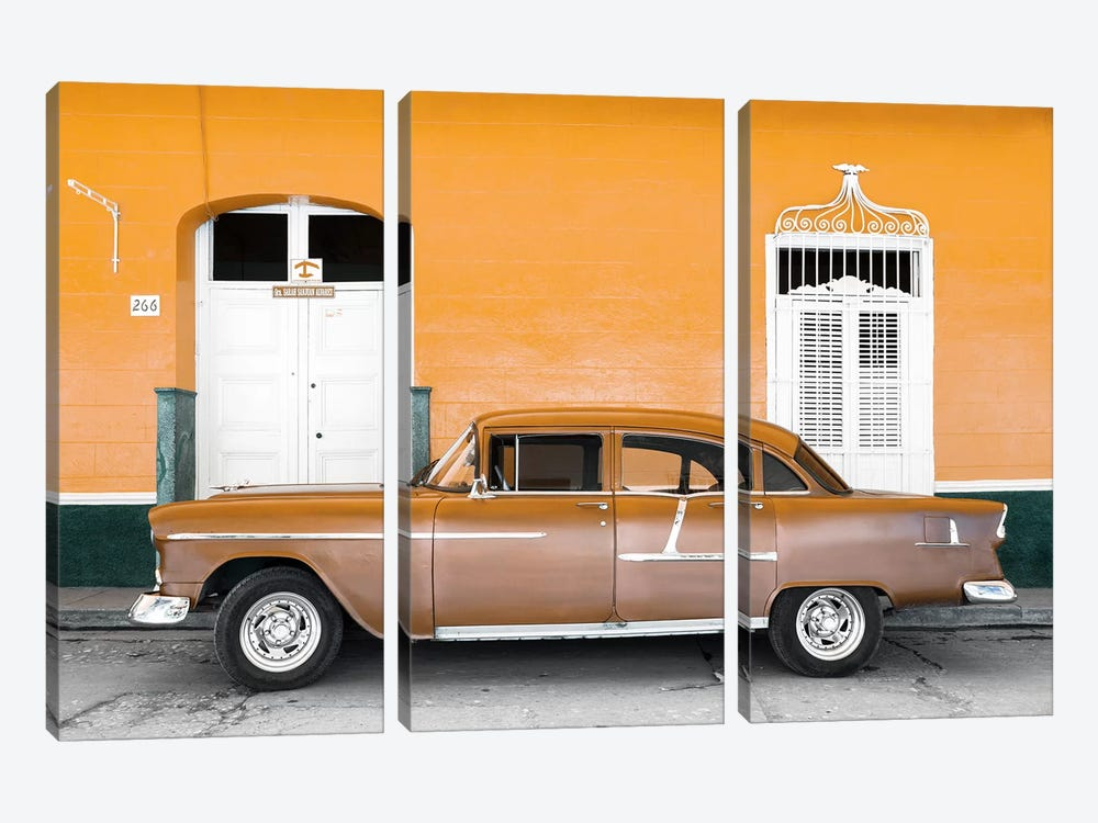 Cuba Fuerte Collection - Old Orange Car   by Philippe Hugonnard 3-piece Canvas Artwork