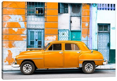 Orange Classic American Car Canvas Art Print