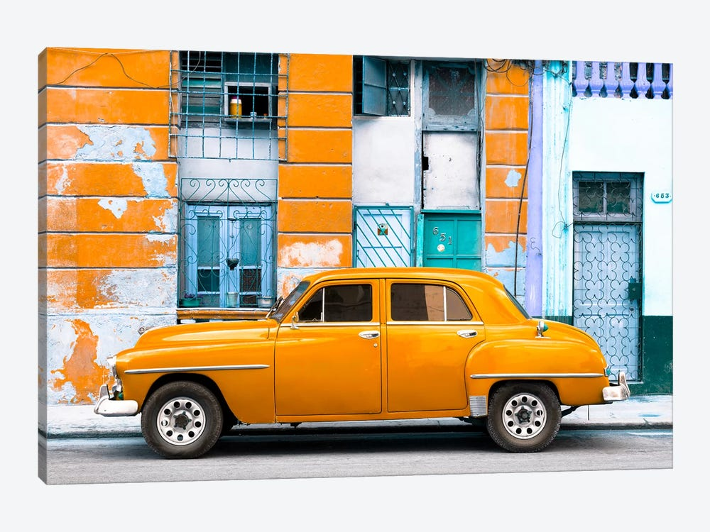 Cuba Fuerte Collection - Orange Classic American Car by Philippe Hugonnard 1-piece Canvas Print