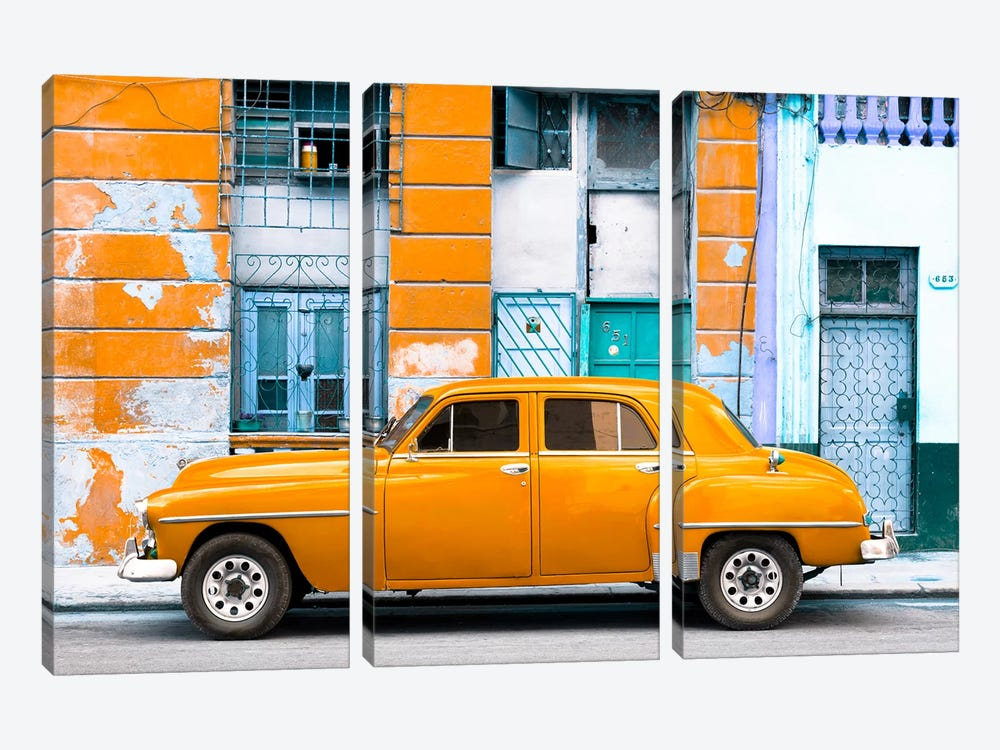 Cuba Fuerte Collection - Orange Classic American Car by Philippe Hugonnard 3-piece Canvas Art Print