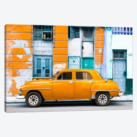 Orange Classic American Car 3-Piece Canvas #PHD338} by Philippe Hugonnard Canvas Art