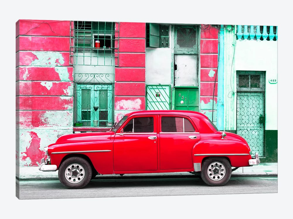 Cuba Fuerte Collection - Red Classic American Car by Philippe Hugonnard 1-piece Canvas Wall Art