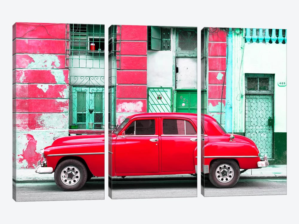Red Classic American Car 3-piece Canvas Wall Art