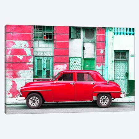 Red Classic American Car Canvas Print #PHD339} by Philippe Hugonnard Canvas Artwork